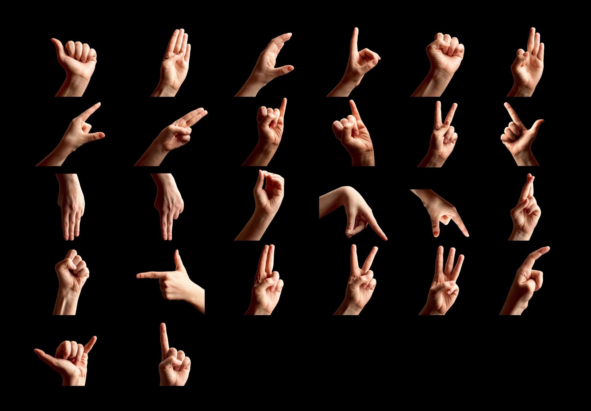 Hand shapes for the sign language alphabet